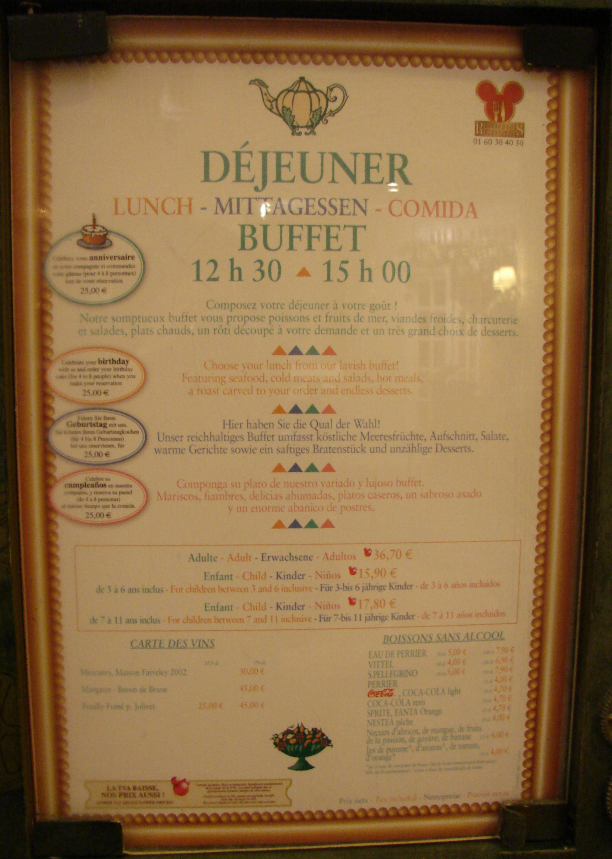 Menu Restaurant Disneyland Paris
