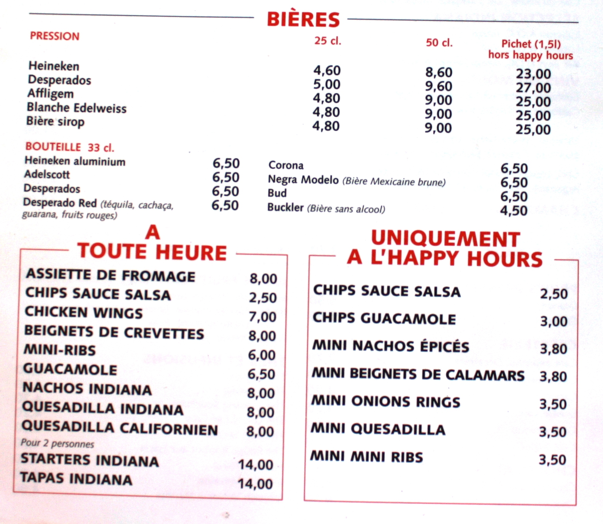 Indiana Cafe Carte Prix