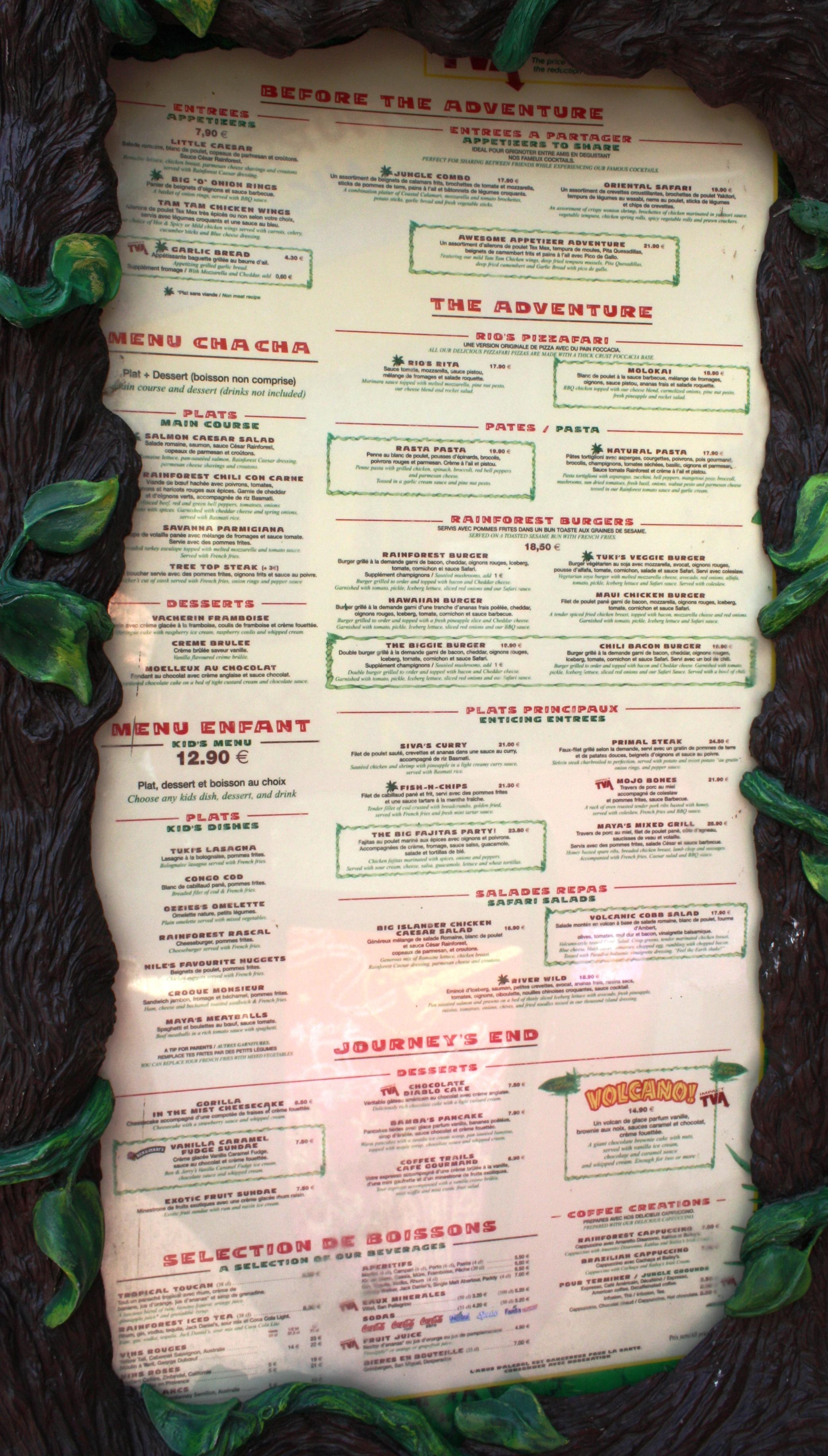 Rainforest Cafe Menu Paris