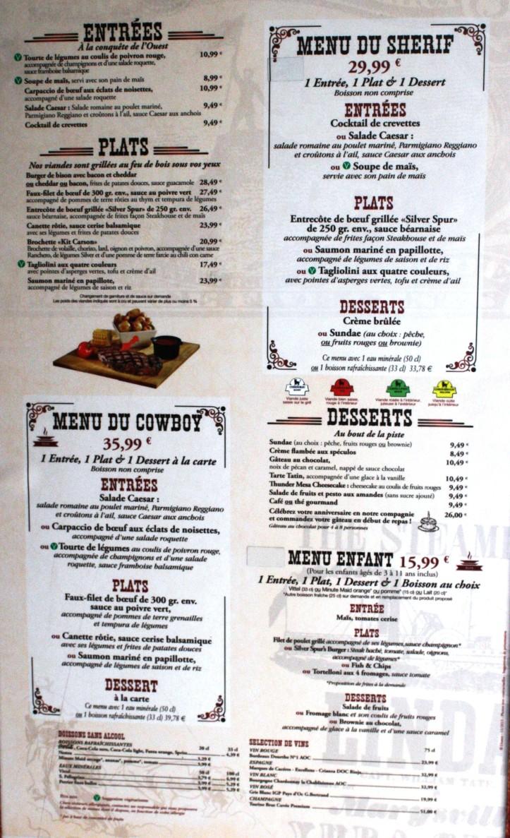 Silver Spur Steakhouse, carte menu Disneyland Paris