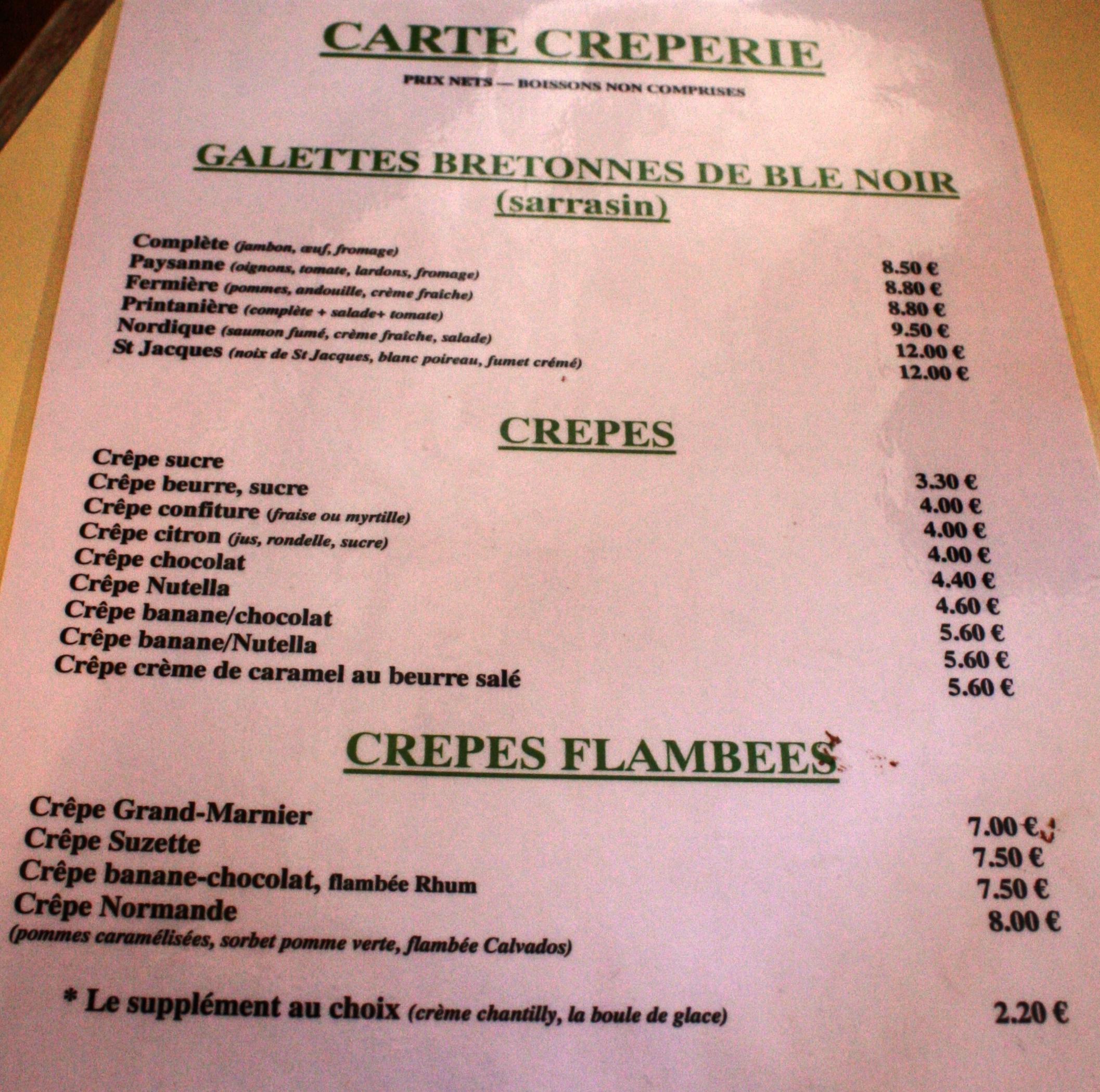 Menu Du Restaurant La Croix Blanche Mont Saint Michel