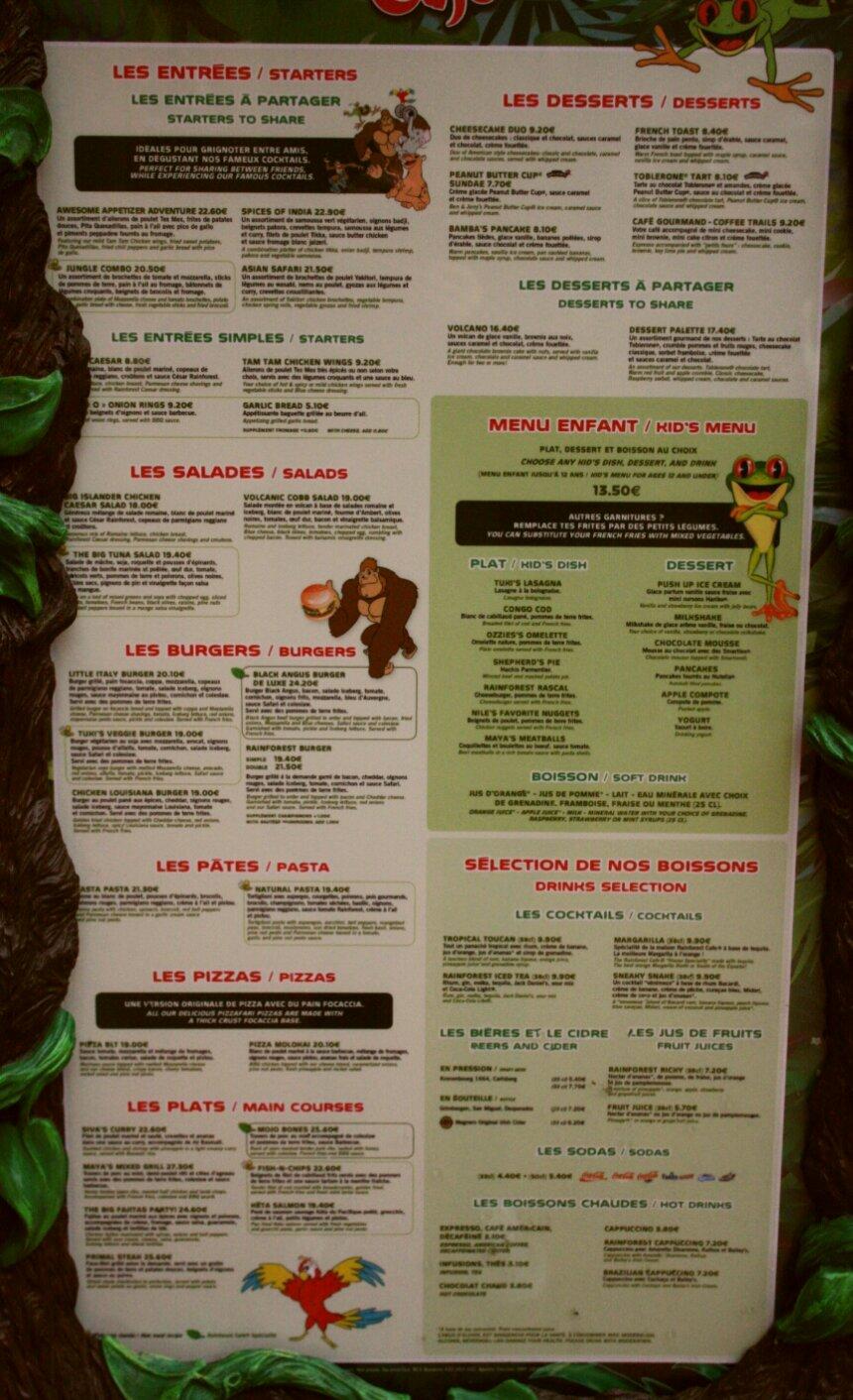 Rainforest Cafe Menu Florida