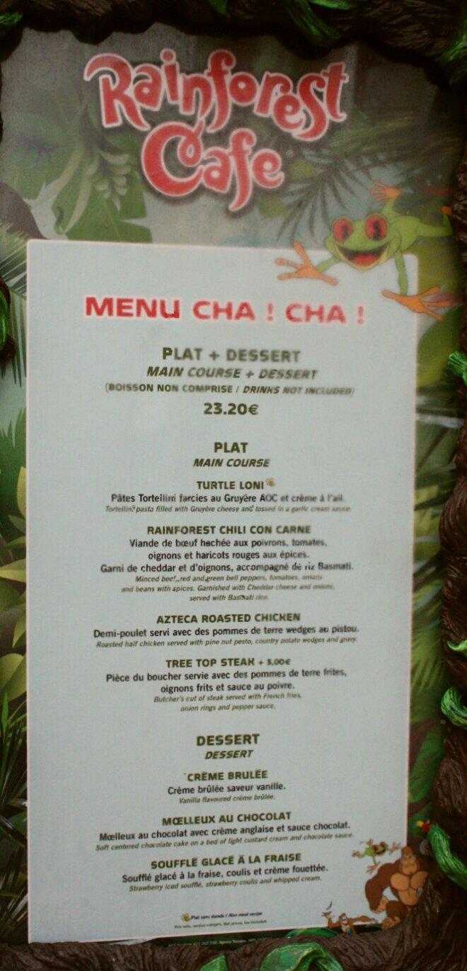 Carte Menu Rainforest Cafe