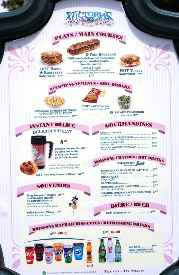 Les cartes / menus à Disneyland Paris - Mai 2015