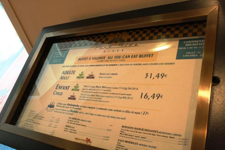 Les cartes / menus - Hôtels et bars Disneyland Paris – Août 2015