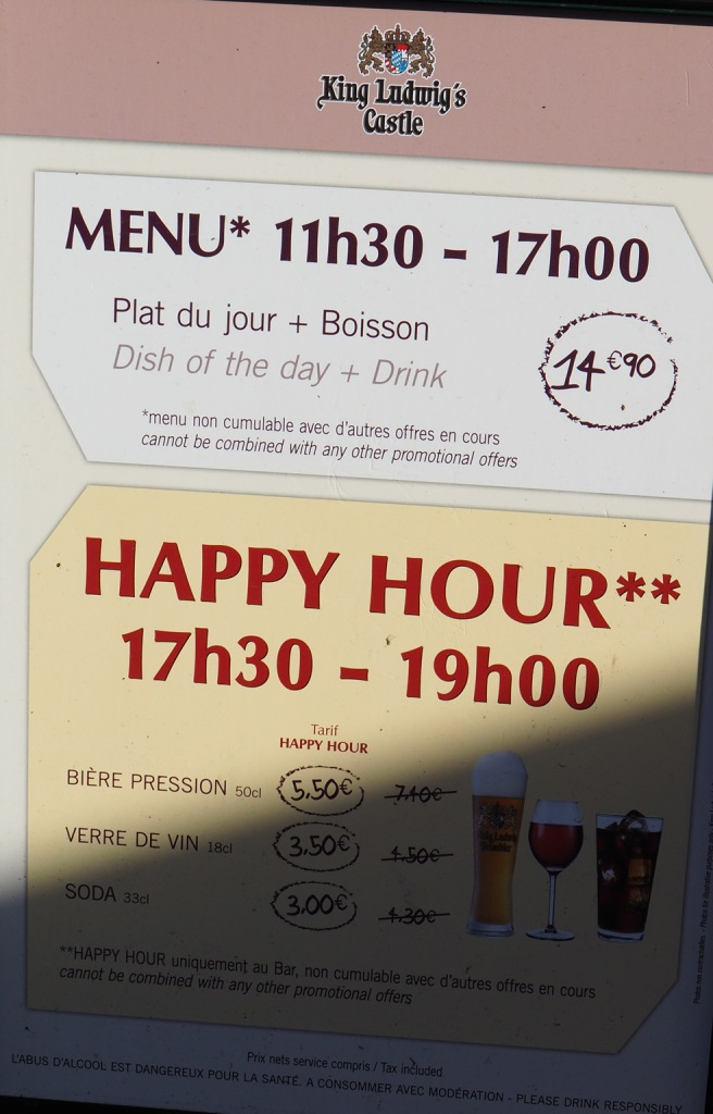 Les cartes / menus des restaurants, fast food et bars - Disneyland Paris – Janvier 2017